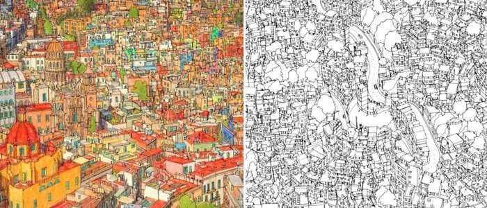 Canadense lan�a livro de colorir com ilustra��es de cidades do mundo